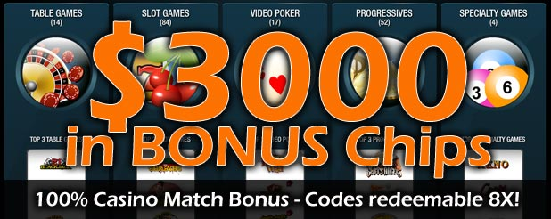 $3000 Casino Welcome Bonus